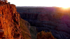 Evening sun over Grand Canyon - amazing sunset Stock Footage