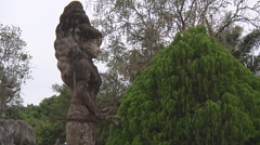 Statue and bush in Buddha Park near Vientiane, Laos Stock Footage