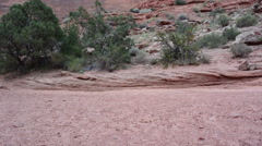 Desert Lower Half of man hikes right through shot Stock Footage