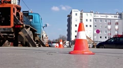 Traffic cone redirect city traffic. Stock Footage