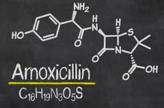 Blackboard with the chemical formula of Amoxicillin - stock illustration