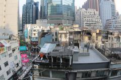 Apartment buildings at day in Hong Kong. Stock Photos