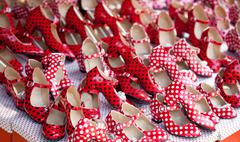 gypsy red shoes with polka dot spots - stock photo