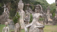 Statues in Buddha Park near Vientiane, Laos Stock Footage