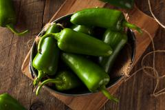 Organic Green Jalapeno Peppers - stock photo