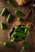 Stock Photo of Organic Green Jalapeno Peppers