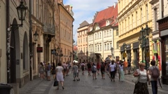 Crowd tourists in the old town (Stare Mesto) of Prague. Stock Footage