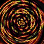 swirling orange red yellow green festive lights in the dark - stock illustration