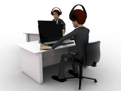 3d man working on laptop in office and wear headphone concept - stock illustration