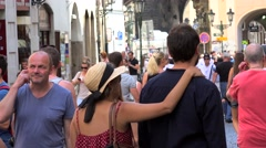 Crowd tourists in the old town (Stare Mesto) of Prague. - stock footage