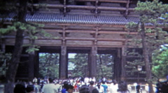 Todai-ji, JAPAN 1972: Nara Temple deer roam the park, friendly Tōdai-ji. Stock Footage