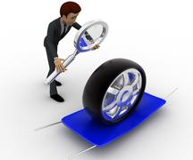 Stock Illustration of 3d man examine tire concept