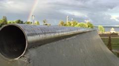 Rainbow at skateboard park Stock Footage