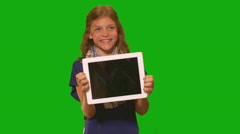 Young girl in front of chroma key - Tablet Computer Stock Footage