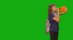 Young girl in front of chroma key - Running for class president Stock Footage