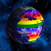 Earth From Space. Continents Colored In LGBT Colors. - stock illustration