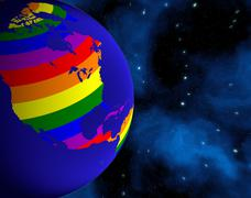 Earth From Space. Continents Colored In LGBT Colors. Stock Illustration