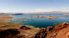 Great view over Nevada desert and Lake Mead . Stock Footage