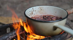 Hunter's Stew cooking over an open fire Stock Footage