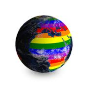 Earth On White Background. Continents Colored In LGBT Colors. - stock illustration
