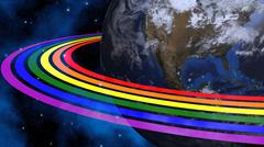 Earth From Space With Rainbow Rings. Continents Colored In LGBT Colors. Stock Illustration