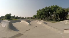 First person view of riding through a popular skate park. Stock Footage
