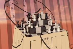 Chess on a ziggurat Stock Illustration