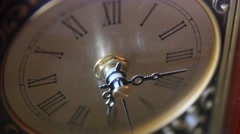 Antique clocks hands turn with the time Stock Footage