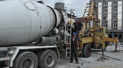 Cement mixer truck Stock Footage