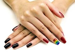 LGBTQ Pride Nail Polish Stock Photos