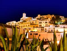 Ibiza Dalt Vila downtown in night lights Stock Photos