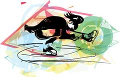 Woman ice skater skating at colorful sports arena Stock Illustration