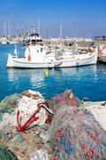 Stock Photo of fisherboats with nets longlines buoy tackle
