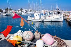fisherboats with nets longlines buoy tackle - stock photo
