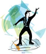 Man ice skater skating at colorful sports arena Stock Illustration