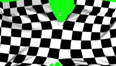 Chequered flag material ripped apart transition with green screen and alpha Stock Footage