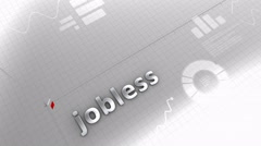 Jobless growing chart, statistic, data, performance. Stock Footage
