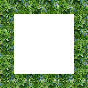 Stock Illustration of Green blurred pixelated frame with clear space for content