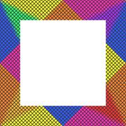 Stock Illustration of Iridescent mosaic checkered leaning on a regular square mount with free place