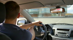 3 in 1 video! Man drive the car, inside view, control panel, wheel, close up Stock Footage
