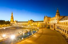 Espana Plaza in Sevilla Spain at dusk Stock Photos