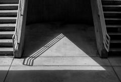 Black and White symmetrical stairs - stock photo