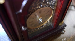 Cool antique clock hands turn with time Stock Footage