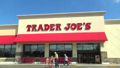 Trader Joes storefront, drive up Stock Footage