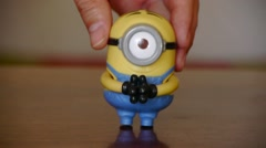 Minions.plaything. Despicable Me.Talking and Singing Toys, Happy Meal McDonald's Stock Footage