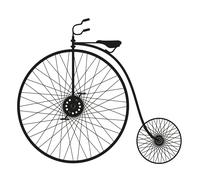 Silhouette of an old bicycle on white background  Stock Illustration