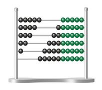 Abacus with black and green balls Stock Illustration
