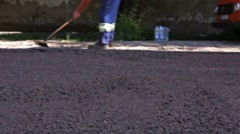 Road Construction in blurred view Stock Footage