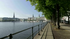 4K Hyperlapse Timelapse Germany Hamburg Alster river n Rathaus Town Hall skyline Stock Footage