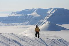 Skiing expedition in Svalbard Norway - stock photo